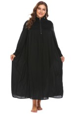Linemart Women Stand Neck Long Sleeve Lace Patchwork Loose Long Gown Nightgown Plus ( Black ) - intl
