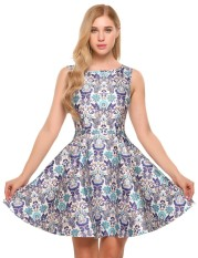 Linemart Women Vintage Style Sleeveless Floral Print Cocktail Party Swing Skater Dress ( Floral ) - intl
