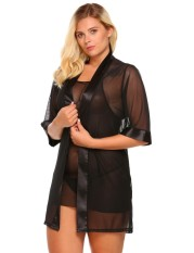Linemart Women's Sheer Mesh Kimono Robe Chemise 3 Pieces Lingerie Set Plus Size ( Black ) - intl