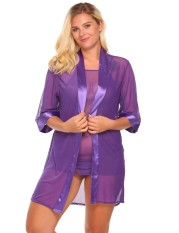 Linemart Women's Sheer Mesh Kimono Robe Chemise 3 Pieces Lingerie Set Plus Size ( Purple ) - intl