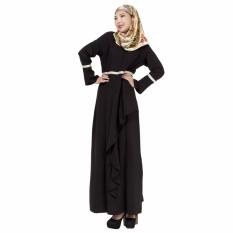 Linen Melayu Dress Wanita Arab Gaun Rok Lengan Panjang Terusan Hitam-Internasional