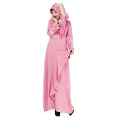 Linen Melayu Dress Wanita Arab Muslim Gaun Rok Panjang Jumpsuit Lengan Pink-Intl