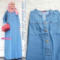 Long Dress Maxi Jeans Jumbo Wanita - Gamis Sanghai Jeans by Cla Hijab