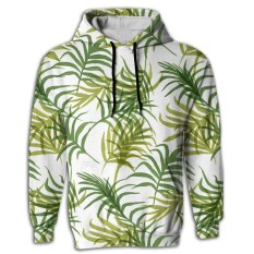 Long Sleeve Tropical Leaf Full 3D Sublimation Elegant Youth Pullover Hoodie