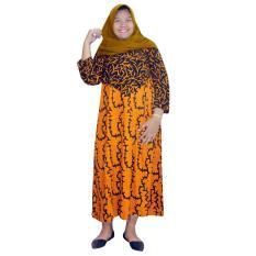 Longdres Lengan Panjang Jumbo Batik Cap Halus Pekalongan, Baju Tidur, Piyama, Leher Kerut (RLD003-11)