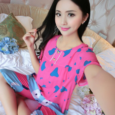 Longgar Korea Fashion Style Katun Sutra Perempuan Musim Panas Baju Tidur (Lengan Pendek Sapi Perah Merah Mawar)