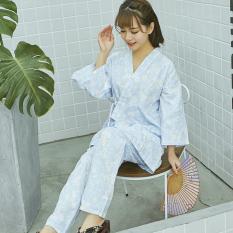 Longgar Korea Fashion Style Perempuan Musim Semi Dan Musim Gugur Katun Lengan Panjang Olahraga Kimono Baju Tidur (Biru Gaya Jepang Putih Bunga Celana Panjang Baju Tidur)
