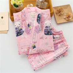Longgar Korea Fashion Style Perempuan Musim Semi Dan Musim Gugur Katun Lengan Panjang Olahraga Kimono Baju Tidur (Merah Muda Gaya Jepang Wisteria Fox Celana Panjang Baju Tidur)