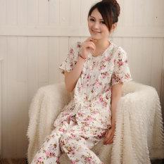 Longgar Musim Panas Perempuan Bagian Tipis Kain Katun Baju Tidur Baju Tidur (Lengan Pendek Bunga Mawar)