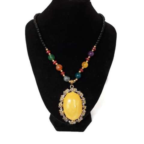 Home; Lovely aksesoris fashion kalung hijab / kalung etnik liontin batu 019- kuning