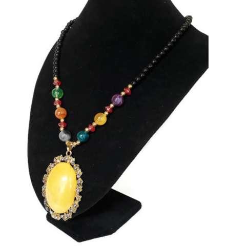 Lovely aksesoris fashion kalung hijab / kalung etnik liontin batu 019-kuning