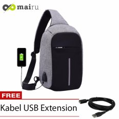 Mairu Tas Selempang Sling Bag Anti Maling Cross Body With  USB Charger Support  For Iphone Ipad Mini Samsung Tab Tablet 10'' Model XD - Grey