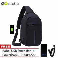 Mairu Tas Punggung Shoulder Bag Cross Body With  USB Charger Support  For Iphone Ipad Mini Samsung Tab Tablet 10'' Model XD Sling Bag Hitam + Free Acetech Power Bank 11000mAh Hitam