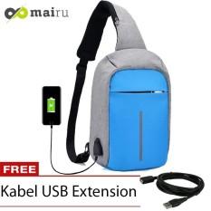 Mairu Tas Selempang Sling Bag Anti Maling Cross Body With  USB Charger Support  For Iphone Ipad Mini Samsung Tab Tablet 10'' Model XD Grey - Light BLue