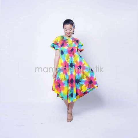 Mama Hamil Baju Hamil Daster Hamil Batik Ceria Rainbow - Biru