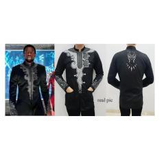 mamamia collection - baju koko black panther lengan panjang / baju lebaran / baju muslim / kemeja hitam / superhero