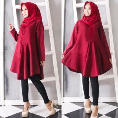 Marlow Jean Baju Wanita Muslim Tunik Blouse Fashion Wanita Muslim Baju Ibu Menyusui - Merah Maroon