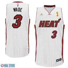 Pria NBA Dwyane Wade #3 Putih Cincin Piala Banner Swingman Basket Jersey Resmi-Intl