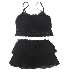 Menggoda Kasa Renda Rumah Tangga Rok Wanita Seksi Gaun Tidur (Seksi Renda Gaun Tidur Set [HITAM Ukuran Set])