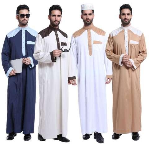 Pria Jubah Jubahs Arab Timur Tengah Muslim Desain Terbaru Pria Lengan Panjang Pakaian-Gading-Intl 3