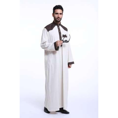 Pria Jubah Jubahs Arab Timur Tengah Muslim Desain Terbaru Pria Lengan Panjang Pakaian-Gading-Intl 1