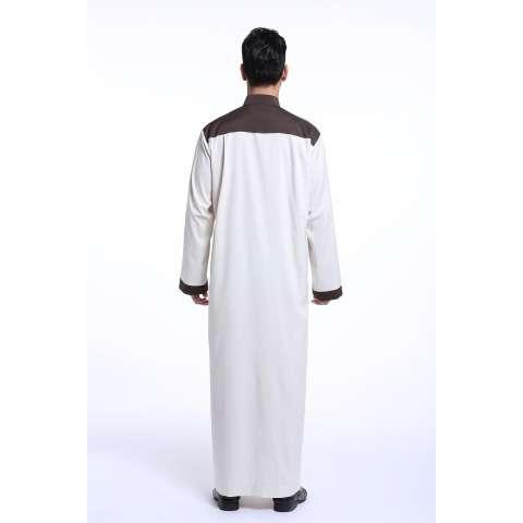 Pria Jubah Jubahs Arab Timur Tengah Muslim Desain Terbaru Pria Lengan Panjang Pakaian-Gading-Intl 2