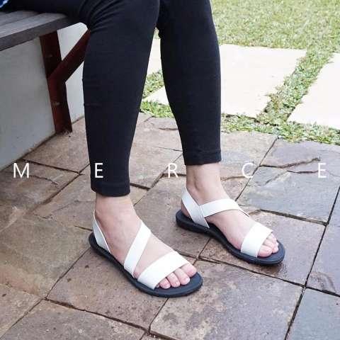 Merce - Sandal Sendal Wanita Teplek RACHEL - Putih