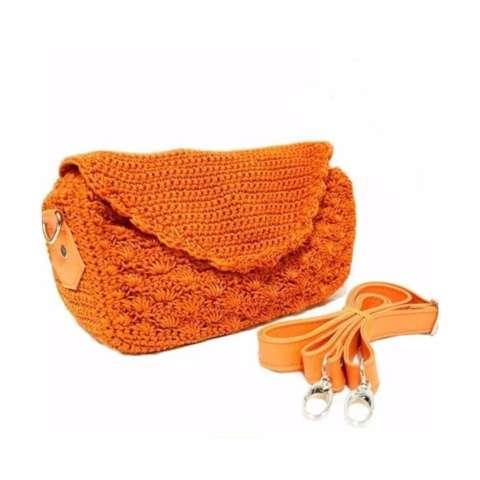 Meyliem Shop Tas Rajut Selempang Tutup Oval - Orange