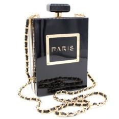 Milisente Women Clutch Purse Perfume Bottle Crossbody Bags Laides Black Acrylic Clutch Bag 65432