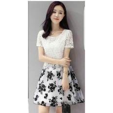 LF BLouse Midi Dress Lengan Pendek Bunga/ Dress Kerja Formal / Dress Santai Kasual /