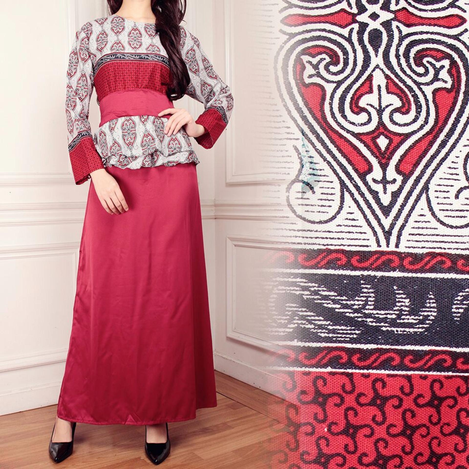 Beli Miracle Dress Gamis Longdress Batik Sandra Merah Jual Baju Koko Bordir Sandi
