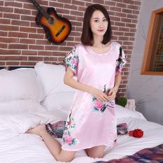 MM Sutra Murni Imitasi Bagian Tipis Yard Besar Lengan Pendek Gaun Baju Tidur (Merah Muda Merak Bunga)