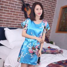 MM Sutra Murni Imitasi Bagian Tipis Yard Besar Lengan Pendek Gaun Baju Tidur (Sky Blue Merak Bunga)