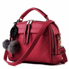 Montana Tas Branded Wanita With Pompom Premium PU Leather - Merah