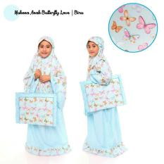 Mukena Anak Murah - Butterfly Love Biru Size XS