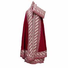 Mukena Katun Bali Motif Sunda Merah Bata