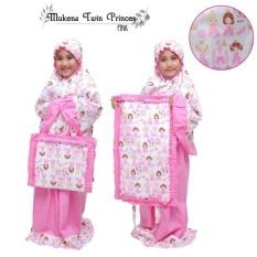 Mukena Telekung Anak TK SD 2-10Tahun Katun Jepang Twin Princess Pink
