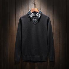 Musim Gugur Dan Musim Dingin Korea Fashion Style Orang Gemuk Ukuran Plus Ukuran Besar Baju Dalaman Sweter (Hitam)