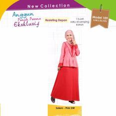 Mutif M-109 Dress Wanita Baju Muslim Modern Gamis Katun Combed Kaos Salem