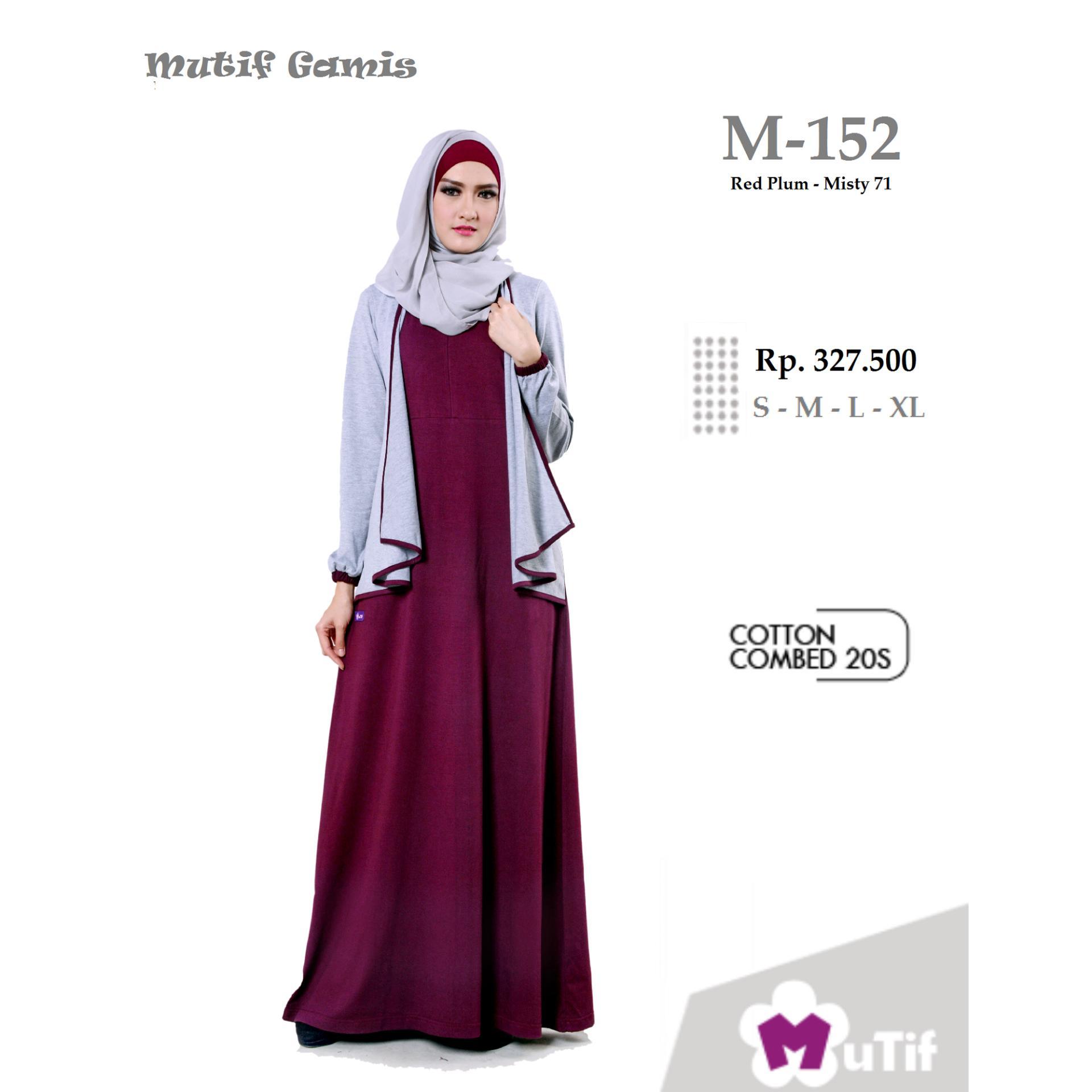 ... Mutif M-152 Dress Wanita Baju Muslim Modern Gamis Katun Combed Kaos Red  Plum 7d59c267fa