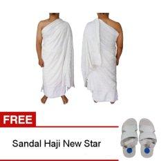 Nabawi Kain Ihram Pria - Putih + Gratis Sandal Haji New Star 1 pcs