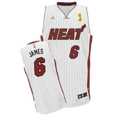 NBA Men's Miami Heat #6 LeBron James Trophy Ring Banner TRB Basketball Jersey Breathable Summer High Quality ( White ) - intl