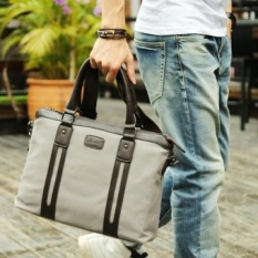 New Best Mens Popular Canvas Business Bag Fixed Version Portable Tote Bags Large Capability Multi-function Shoulder Bags Laptop Bag 锛圙rey Medium锛?MSAR56 (Color:As First Picture)