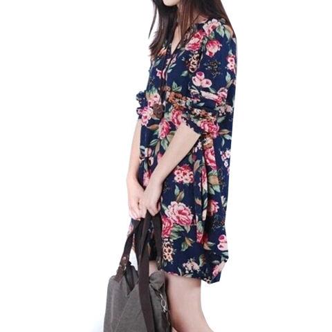 Lima Bintang Store Baru Linen Lengan Baju Seksi Wanita Bunga Panjang V-leher Begitu Pesta Malam Gaun Mini Bang Bang Pendek Seperti Biru Tua-Internasional 1