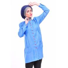 Nibras Blouse Atasan NA-09 Kaos Wanita Baju Muslim Tunik Kemeja Kaos Biru Soft Jeans