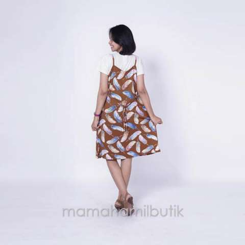 Ning Ayu Baju Hamil Dress Overall Hamil Menyusui 2in1 Gaurine Dress - HO 74 2