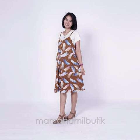 Ning Ayu Baju Hamil Dress Overall Hamil Menyusui 2in1 Gaurine Dress - HO 74 1