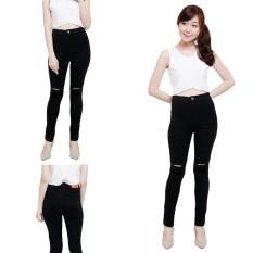 NJ Nuriel Jeans – Celana jeans Wanita – Denim Premium Quality – Skinny High Waits – Black Skinny Sobek Lutut 1 Hitam