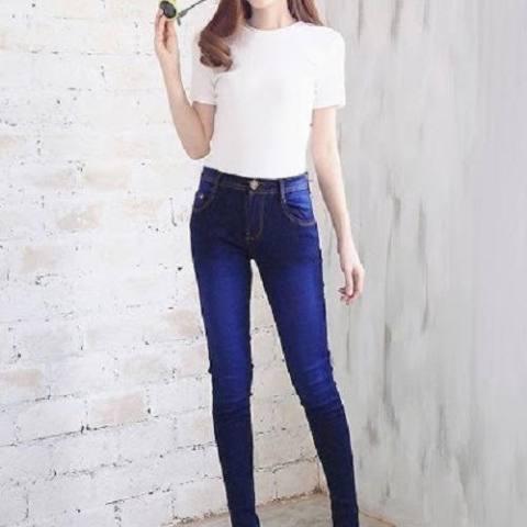 Jual Beli Nj Nuriel Jeans Celana Jeans Wanita Terbaru High Quality Skinny Waist Navy Spray