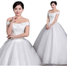 Off Shoulder new design high quality wedding dress white princess wedding gown fashion sexy Vestidos - intl
